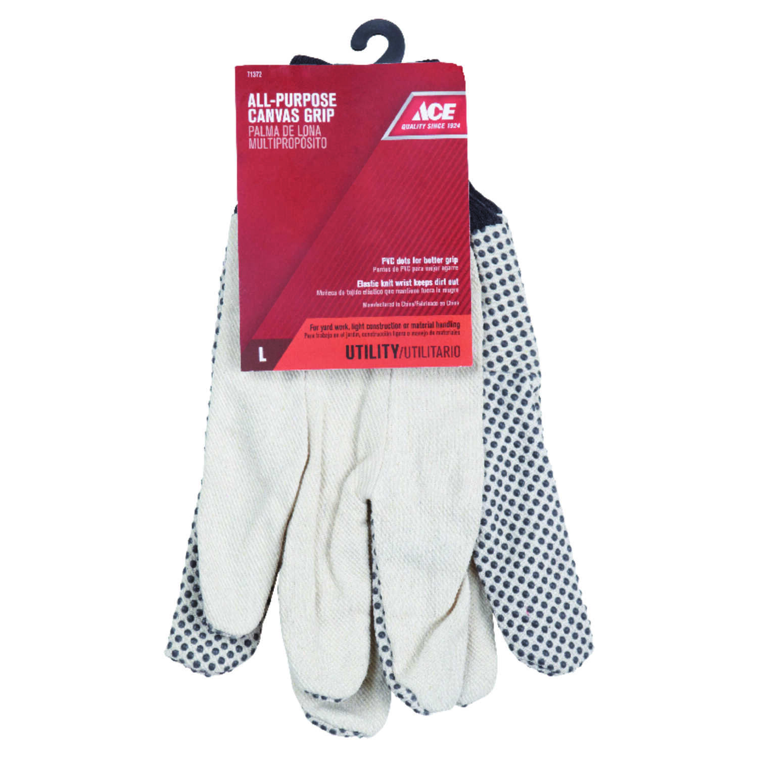 Ace  Men's  Indoor/Outdoor  Canvas  Dotted  Grip Gloves  White  L