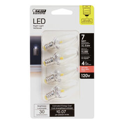 FEIT Electric  C7  E12 (Candelabra)  LED Bulb  Soft White  7 Watt Equivalence 4 pk