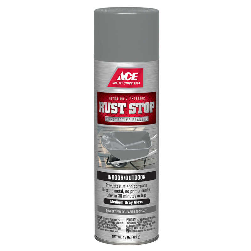 Ace  Rust Stop  Gloss  Medium Gray  15 oz. Spray Paint