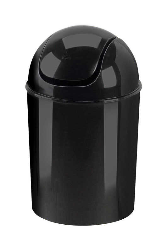 Umbra  2 gal. Black  Swing-Top Lid  Wastebasket