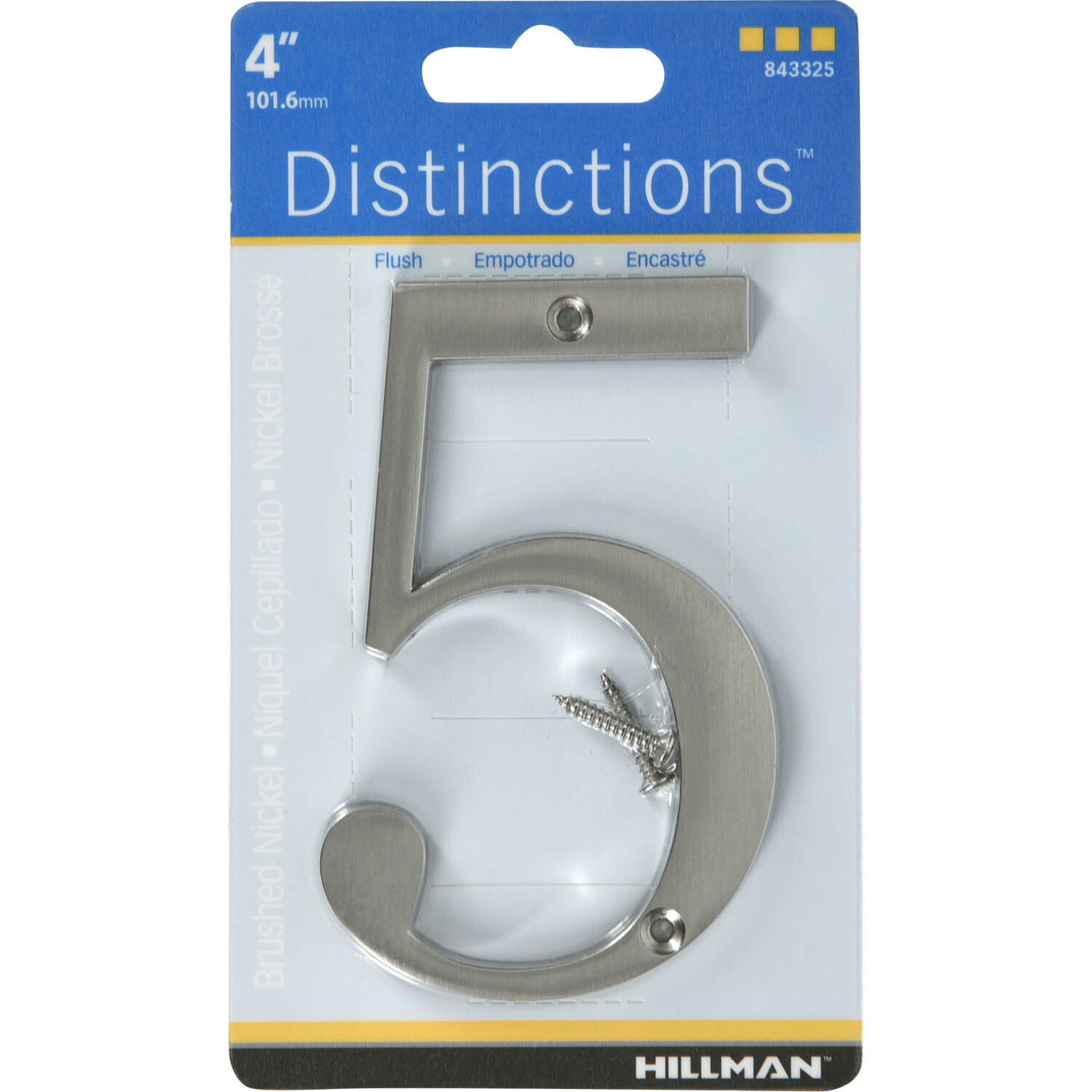 Hillman  Distinctions  4 in. Silver  Brushed Nickel  Screw-On  Number  5  1 pc.