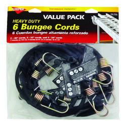 Keeper  Black  Bungee Cord Set  Assorted in. L x 0.315 in.  6 pk