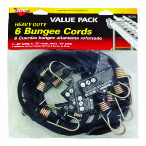 Keeper  Black  Bungee Cord Set  assorted in. L x 8 mm  6 pk