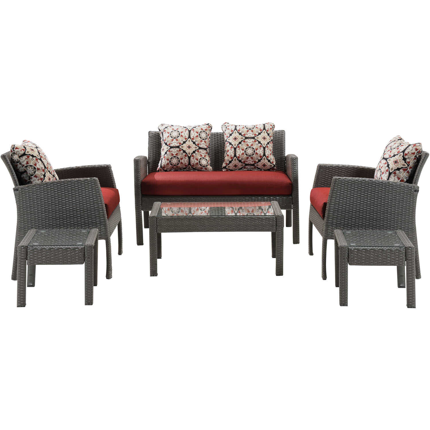 Hanover  Chelsea  6 pc. Brown  Steel  Crimson  Patio Set  Red