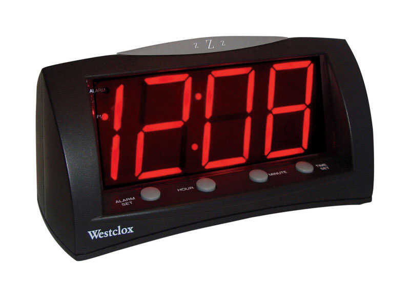 Westclox  3 in. Black  Alarm Clock  Digital