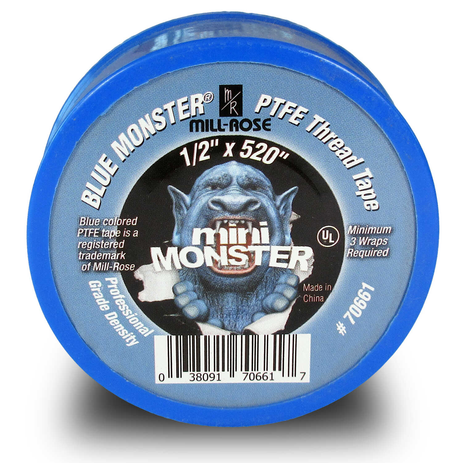Mill Rose  Blue Monster  Blue  520 in. L x 1/2 in. W Thread Seal Tape