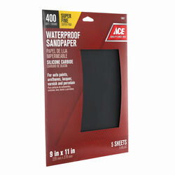 Ace 11 in. L x 9 in. W 400 Grit Silicon Carbide Waterproof Sandpaper 5 pk