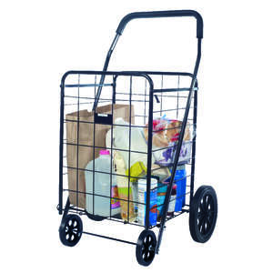 Apex  40-9/16 in. H x 21-1/2 in. L x 24-13/16 in. W Black  Shopping Cart  Collapsible