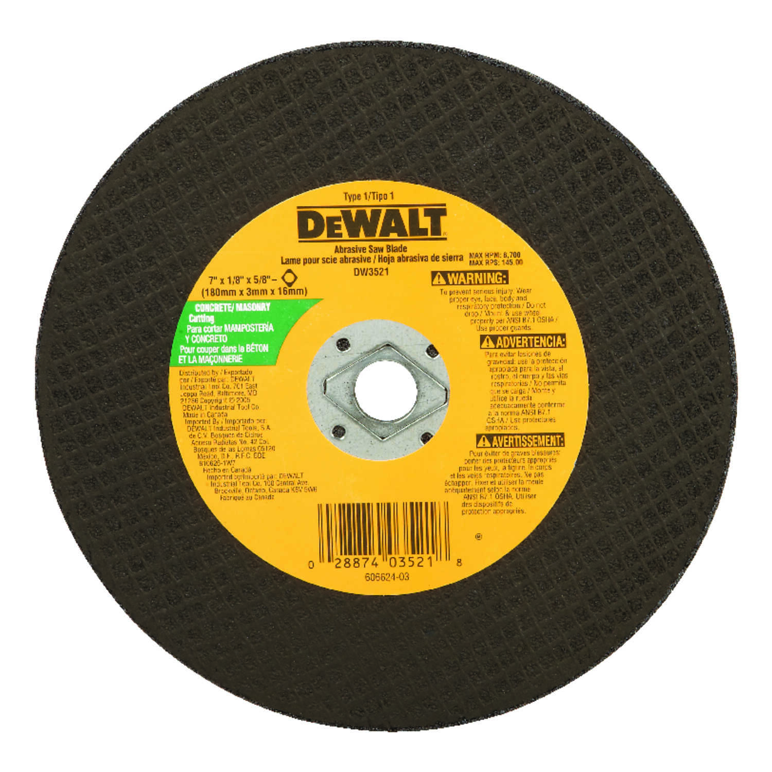 DeWalt  High Performance  7 in. 5/8 in. in.  Silicon Carbide  Masonry Cutting Wheel  1 pc.