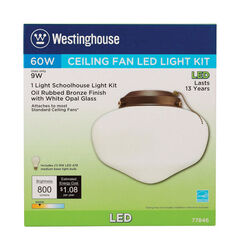 Westinghouse  Oil Rubbed Bronze  White  Schoolhouse Ceiling Fan Light Kit