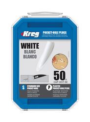 Kreg Round Plastic Pocket-Hole Plug .375 in. Dia. x 1.875 in. L 50 pk White