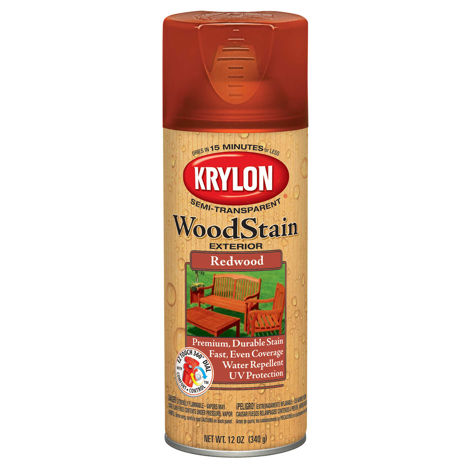 Krylon  Semi-Transparent  Smooth  Redwood  Oil-Based  Oil  Wood Stain  12 oz.