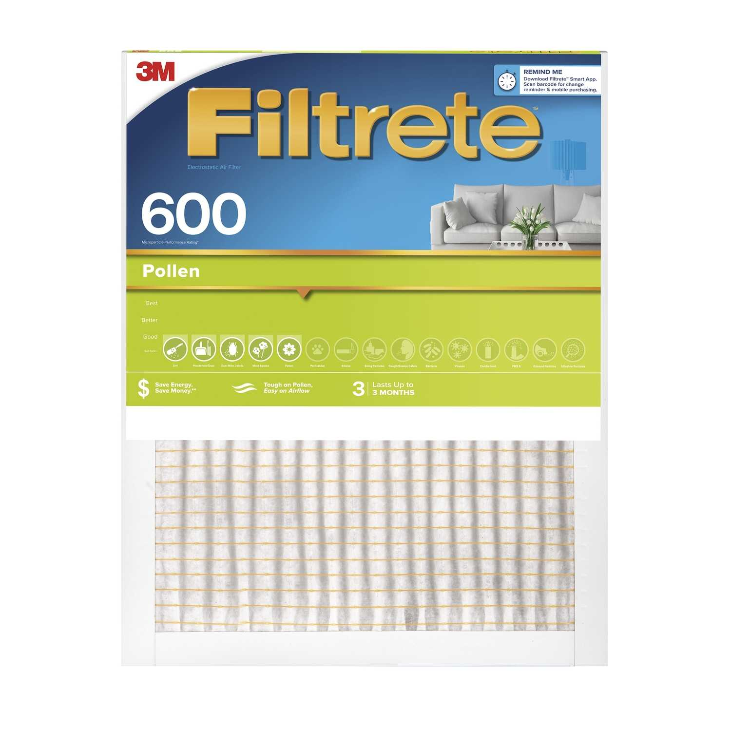 3M  Filtrete  16 in. H x 24 in. W x 1 in. D 6 MERV Air Filter