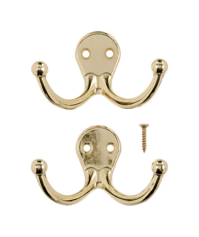 Ace  Bright Brass  Bright Brass  1-3/4 in. L Small  Double Garment  Hook  2 pk Brass