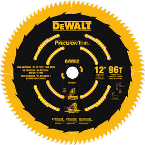 DeWalt  12 in. Dia. x 1 in.  Carbide Tipped  Precision Trim  Circular Saw Blade  96 teeth 1 pk