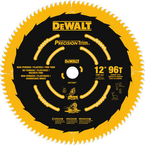 DeWalt  0.079 in.  12 in.  Carbide Tipped  Circular Saw Blade  1 in.  96 teeth 1 pk Precision Trim