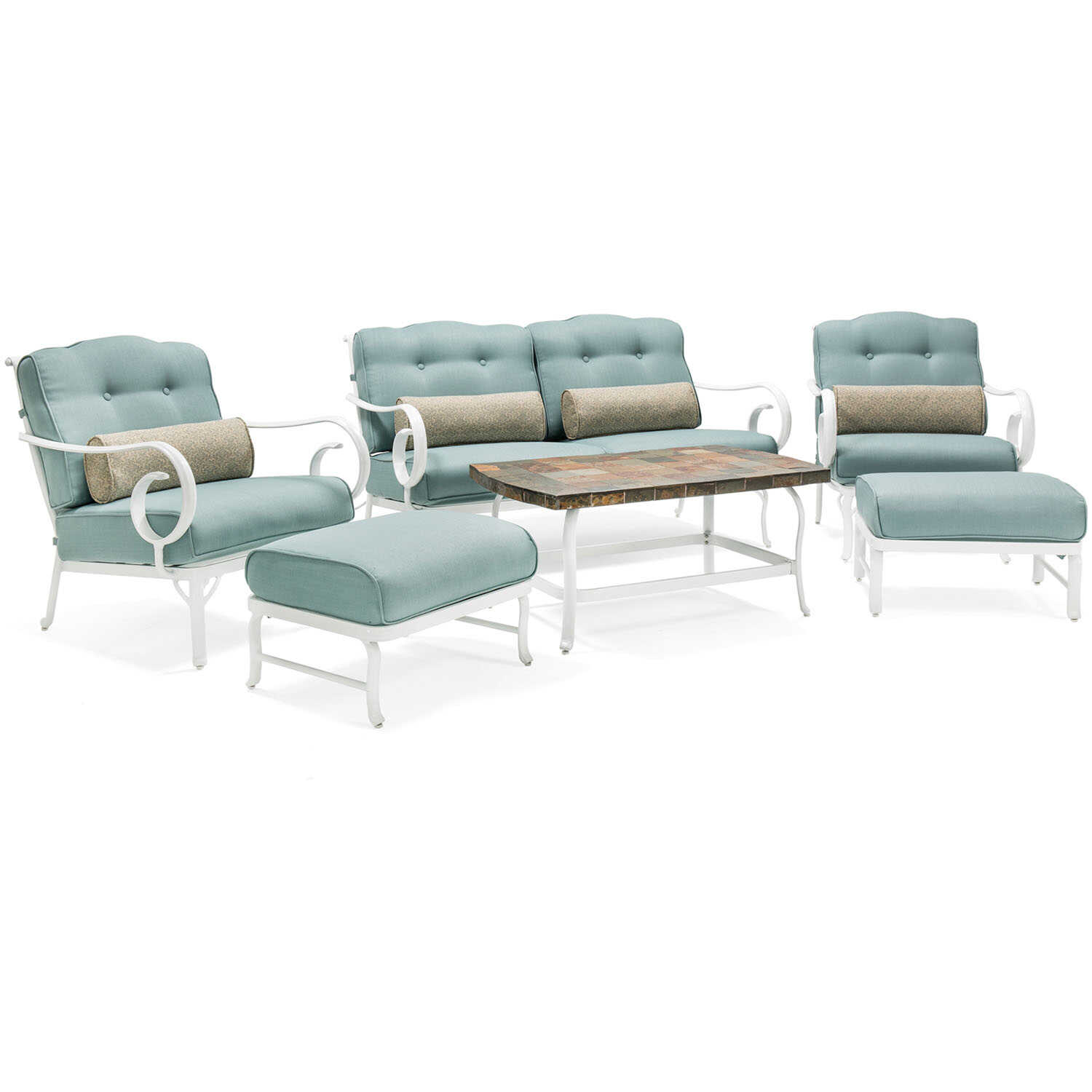 Hanover  Oceana  6 pc. White  Aluminum  Patio Set  Ocean Blue