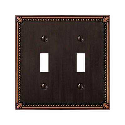 Amerelle  Imperail Beaded  Aged Bronze  Bronze  2 gang Die-Cast Metal  Toggle  Wall Plate  1 pk