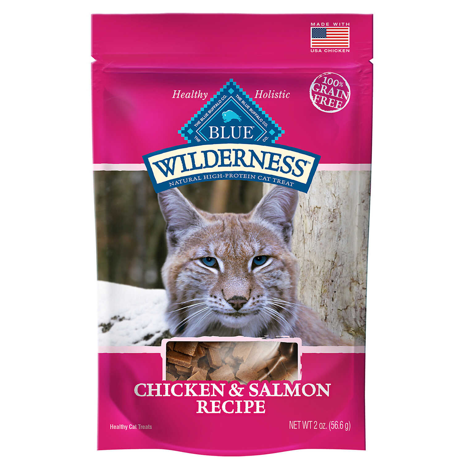 Blue Buffalo  Blue Wilderness  Chicken and Salmon  Cat  Grain Free Treats  1 pk 2 oz.