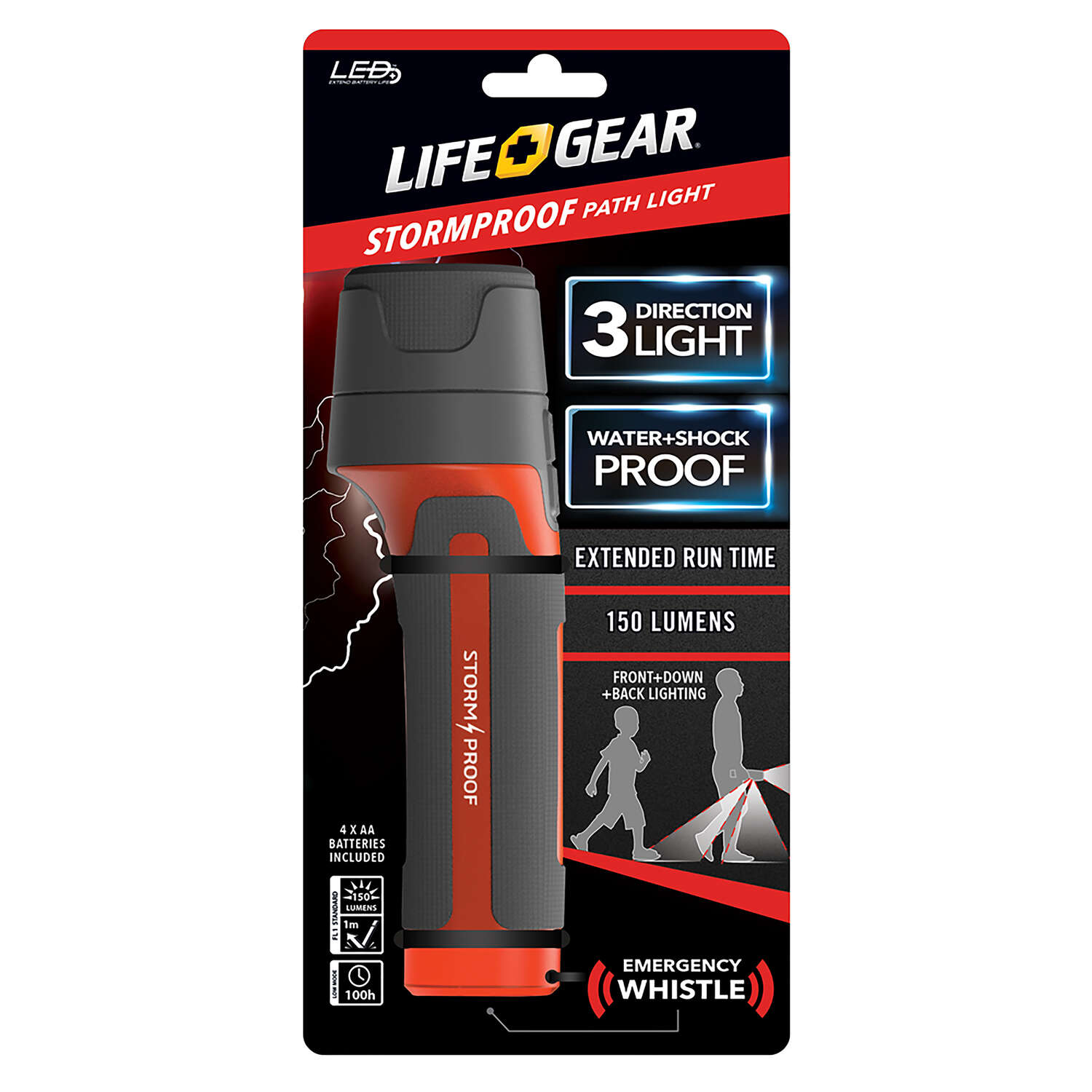 Life Gear 150 lumens Red LED Signal Light AA Battery