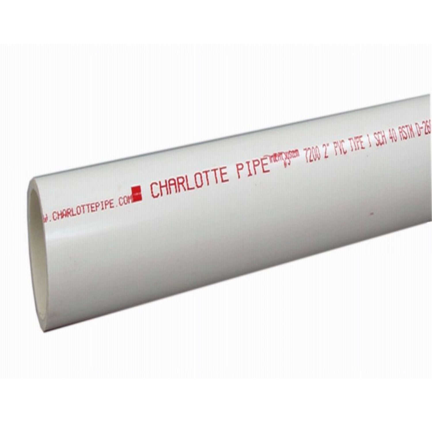 Charlotte Pipe  PVC Pipe  2 in. Dia. x 10 ft. L Plain End  Schedule 40  280 psi