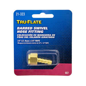 Tru-Flate  Brass  Barbed Swivel Fitting  1/4 in. Female  NPT  1 pc.