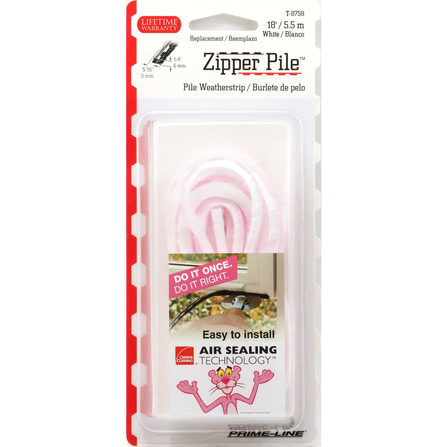 Prime-Line  Owens Corning  White  Vinyl  Weatherstrip  For Doors and Windows 216 in. L x 0.19 in.