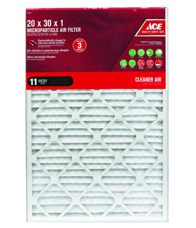 Ace  30 in. H x 20 in. W x 1 in. D Pleated  Microparticle Air Filter