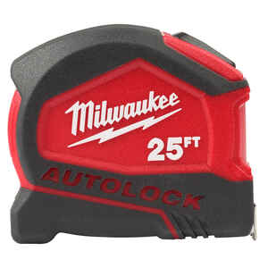 Milwaukee  25 ft. L x 1.88 in. W Compact  Auto Lock Tape Measure  Red  SAE  1 pk