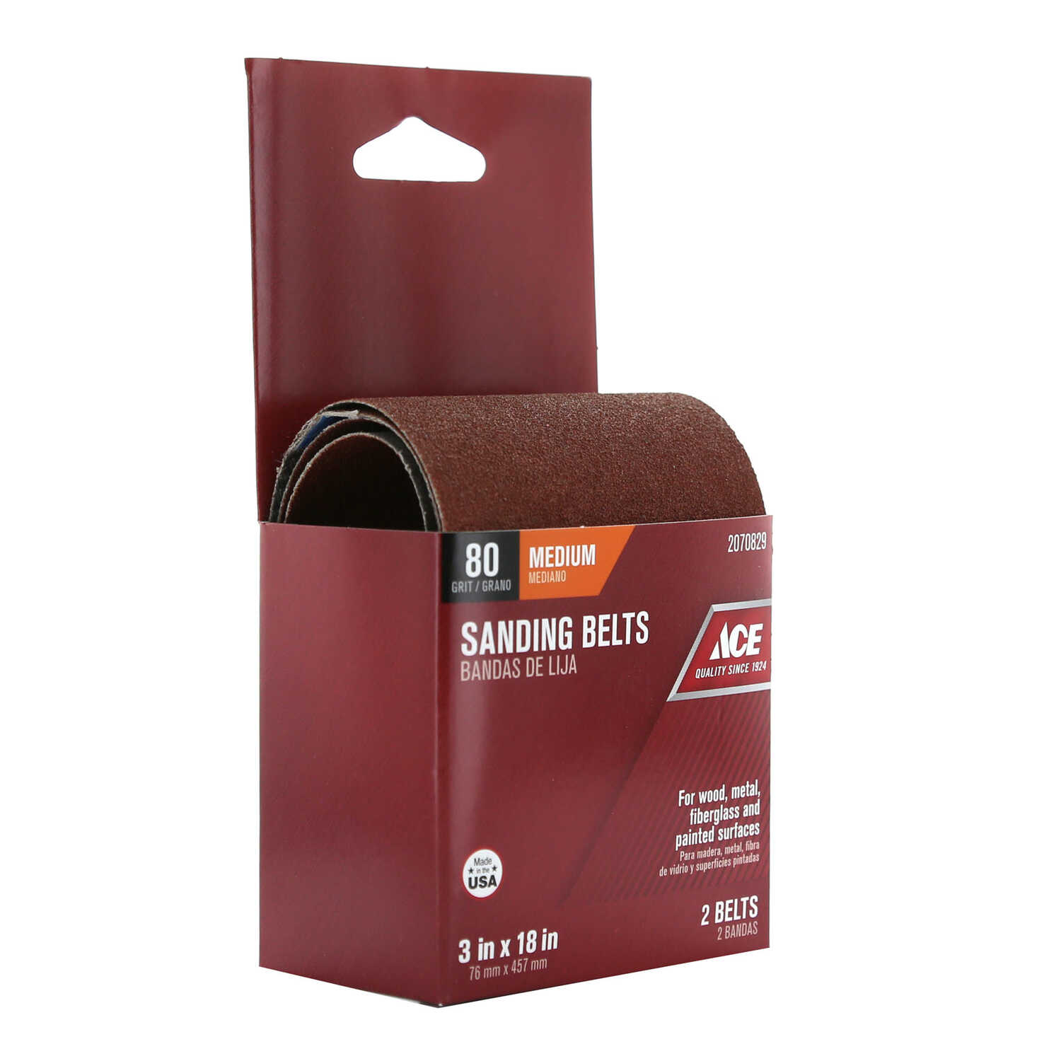 Ace  18 in. L x 3 in. W Aluminum Oxide  Sanding Belt  80 Grit Medium  2 pc.