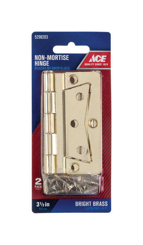Ace  2.75 in. W x 3-1/2 in. L Bright Brass  Brass  Non-Mortise Hinge  2 pk