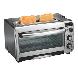 Hamilton Beach  Metal  Black/Silver  2  Convection Toaster Oven  12.05 in. H x 17.8 in. W x 10.24 in