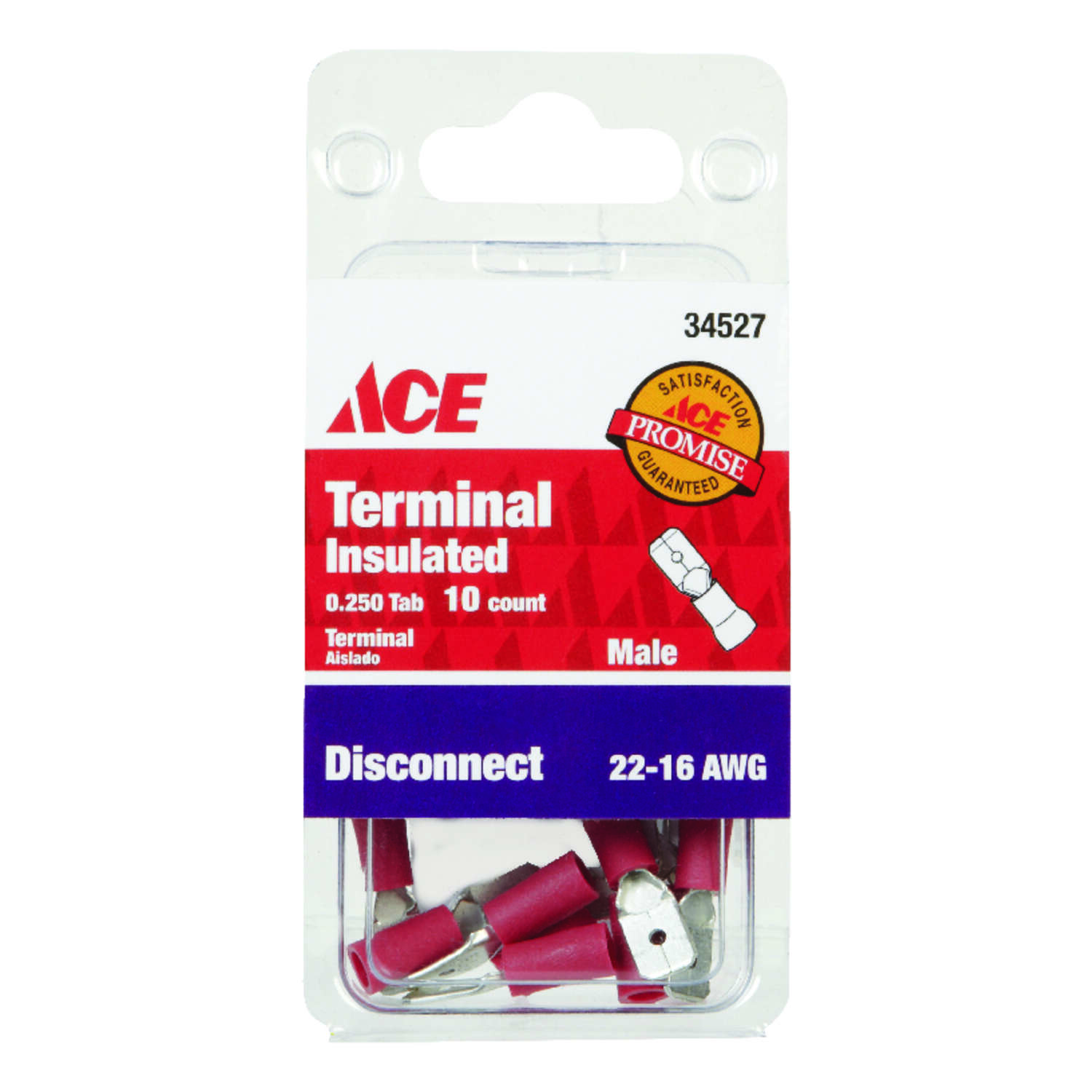 Ace  Insulated Wire  Male Disconnect  Red  10 pk