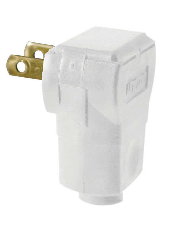 Leviton  Commercial and Residential  Plastic  Non-Polarized  Plug  1-15P  20-16 AWG 2 Pole 2 Wire