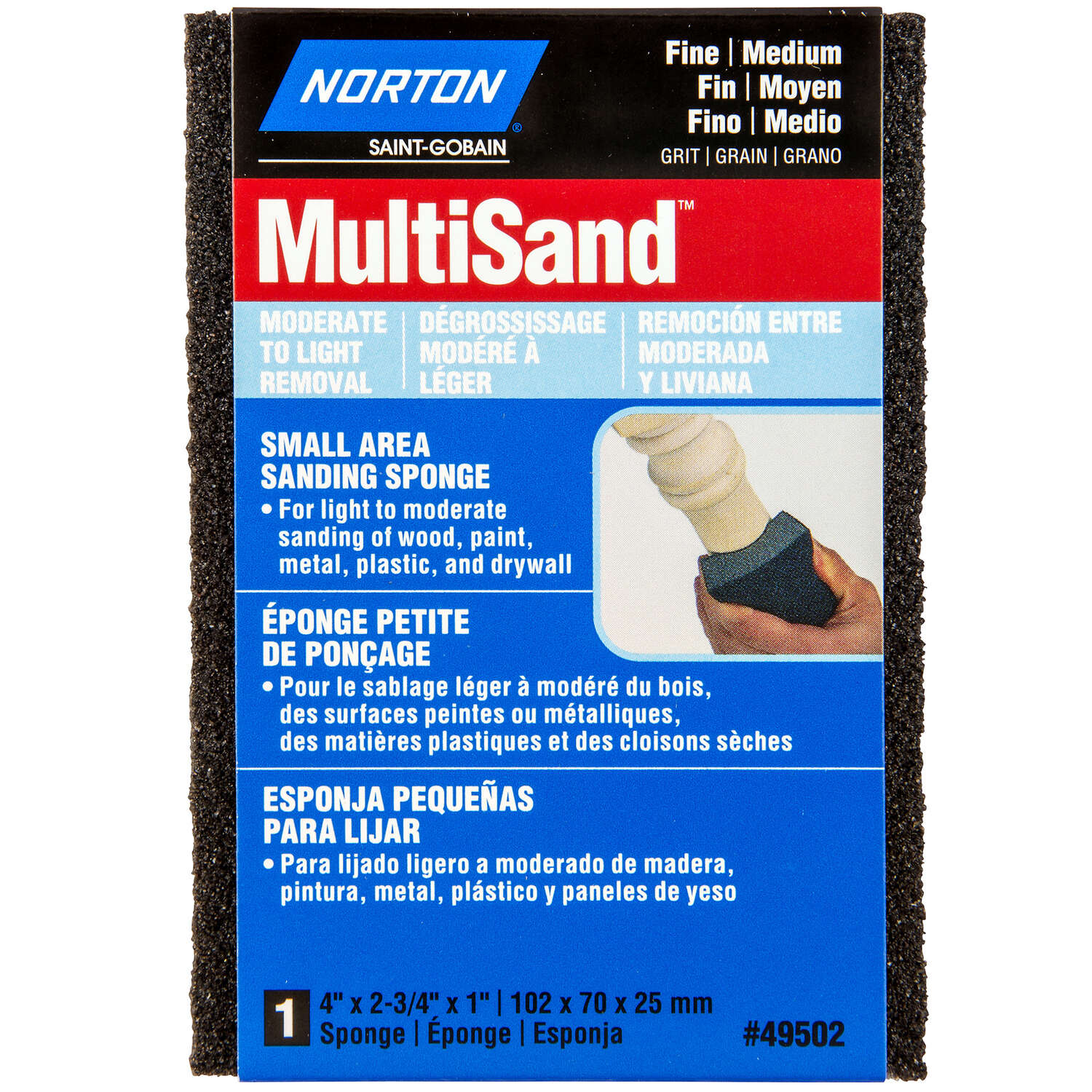 Norton MultiSand 4 in. L x 2.75 in. W x 1 in. 80/120 Grit Fine/Medium Small Area Sanding Sponge