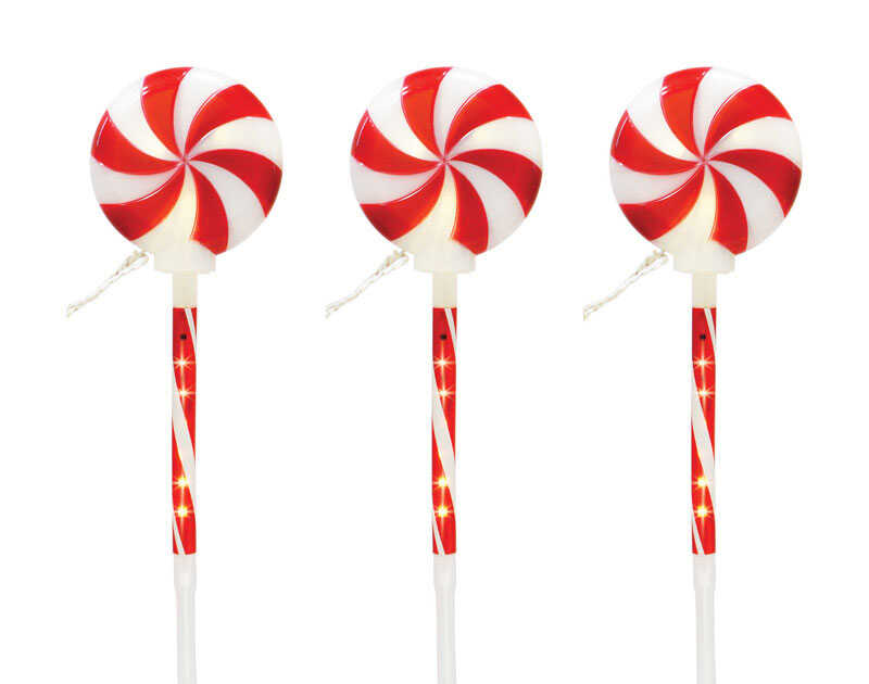 Celebrations  Lollipop  Pathway Lights  Red/White  3 pk Plastic