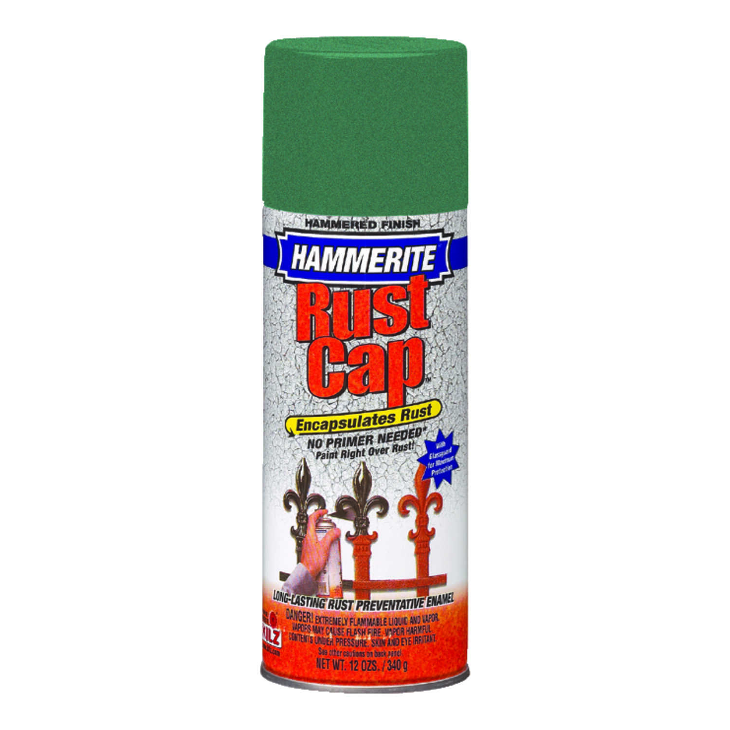 Hammerite  Rust Cap  Hammered  Mid Green  Enamel Spray Paint  12 oz.