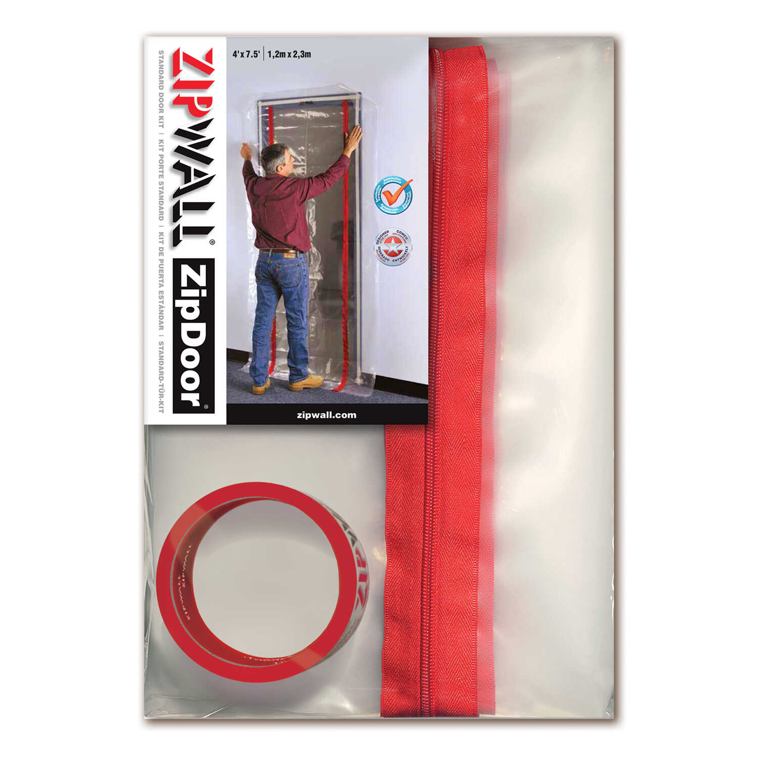 Zipwall  ZipDoor  7 in. L x 4 ft. W Plastic  Door Kit  Clear