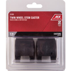 Ace 2 in. Dia. Swivel Plastic Twin Caster 75 lb. 2 pk