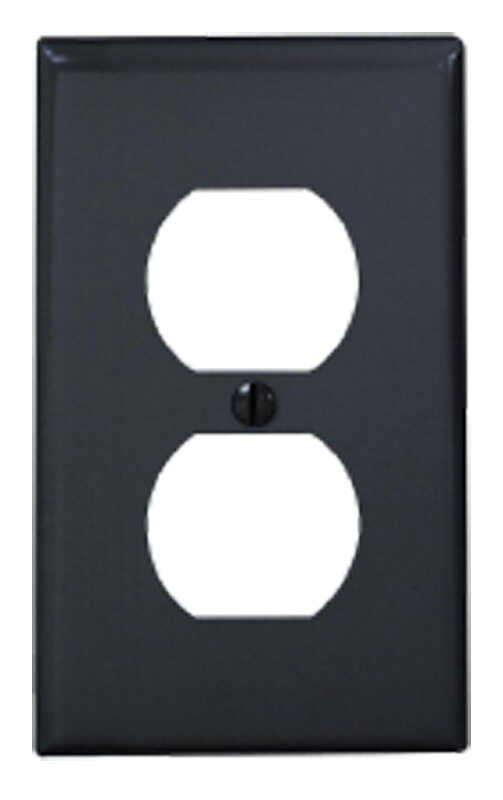 Leviton  Black  1 gang Nylon  Duplex Outlet  1 pk Wall Plate