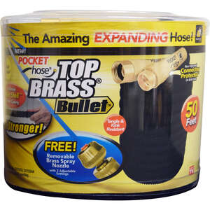 Telebrands  Top Brass Bullet As Seen On TV  3/4 in. Dia. x 50 ft. L Expanding  Black  Garden Hose