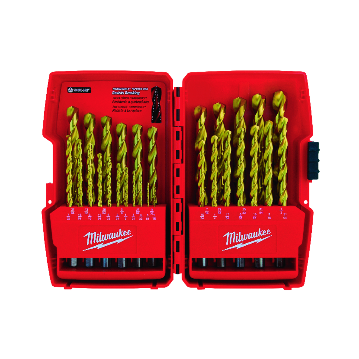 Milwaukee  THUNDERBOLT  Assorted in. Dia. Drill Bit Set  High Carbon Steel  3-Flat Shank  29 pc.