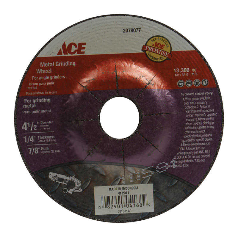 Ace  4-1/2 in. Dia. x 1/4 in. thick  x 7/8 in.   Aluminum Oxide  Metal Grinding Wheel  13200 rpm 1 p