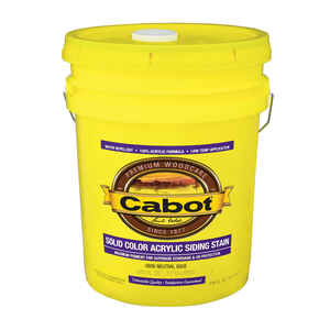 Cabot  Solid  Tintable 0806 Neutral Base  Water-Based  Acrylic  Siding Stain  5 gal.
