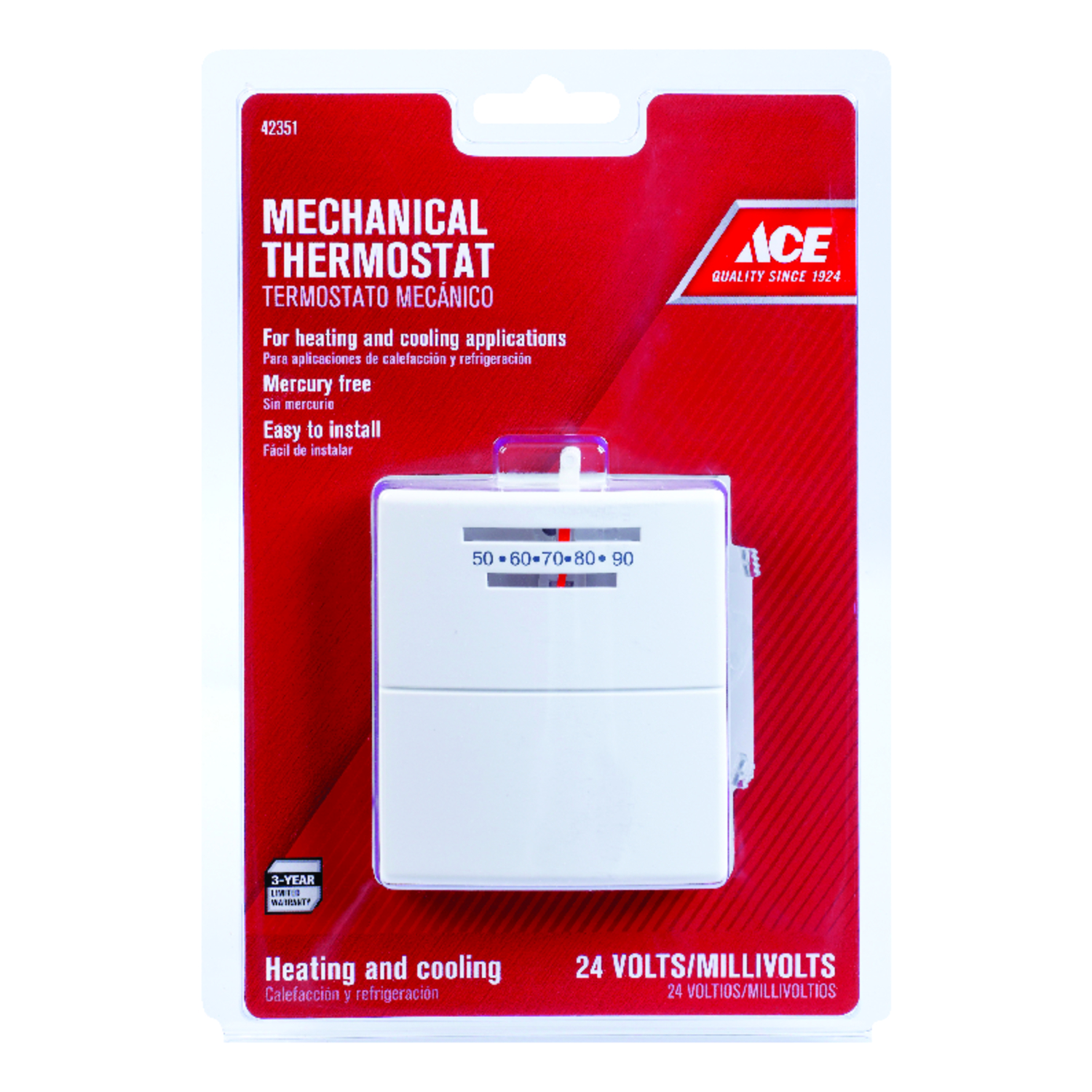 Ace Heating and Cooling Lever Mechanical Thermostat