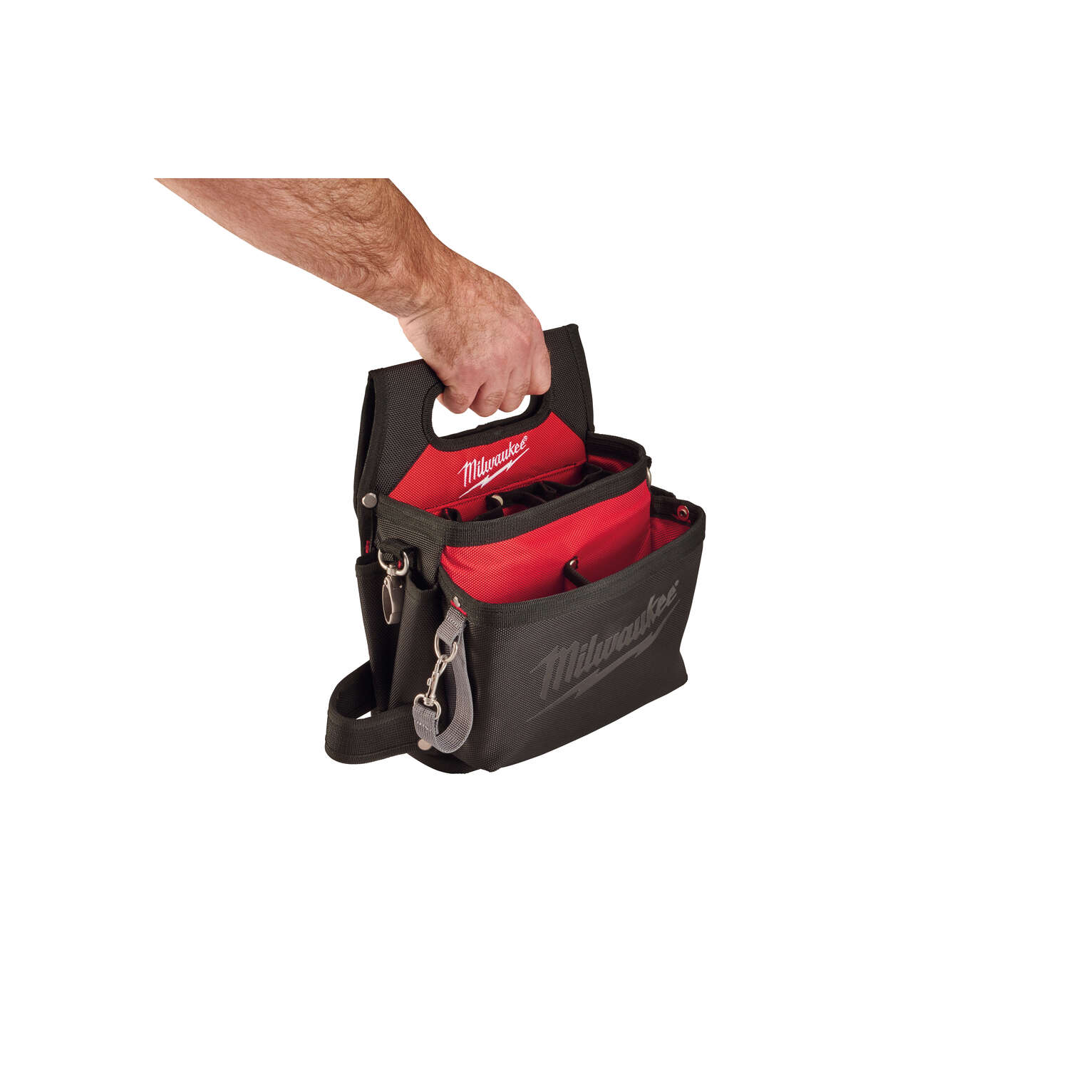Milwaukee  12.8 in. W x 3.5 in. H Ballistic Nylon  Electrician's Pouch  15 pocket Black/Red  1 pc. R