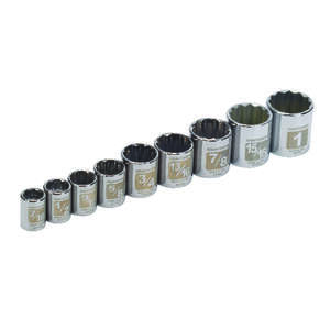 Craftsman  Assorted in.  x 3/8 in. drive  SAE  12 Point Socket Set  9 pc.