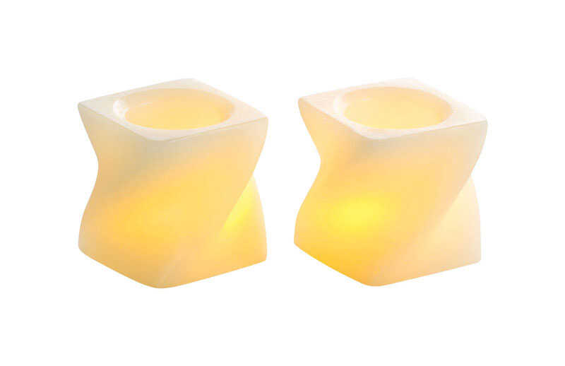Inglow  Butter Cream  Mini Twisted Square  Candle  2 in. H