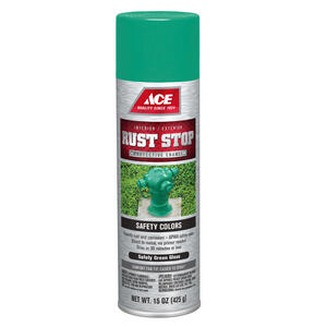 Ace  Rust Stop  Gloss  Safety Green  Spray Paint  15 oz.