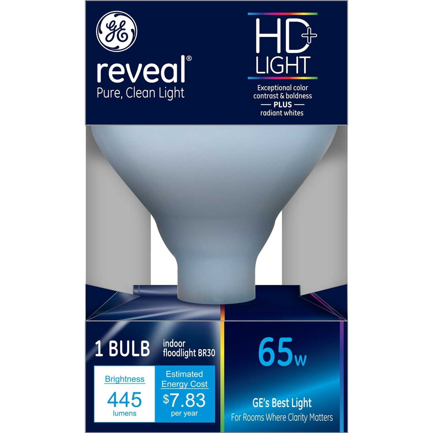 GE Lighting  Reveal  65 watts BR30  Incandescent Bulb  510 lumens 1 pk Floodlight  Soft White